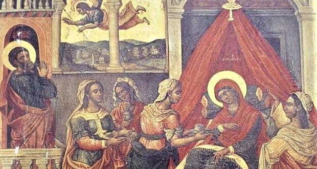 Φωτογραφίες απο την ιερά εικόνα της Γεννήσεως της Θεοτόκου (1676), μετά τη συντήρησή της στον Ιερό Ναό του Φισκάρδου