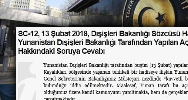 Τουρκικό ΥΠΕΞ: Τα Ιμια μάς ανήκουν «Η Ελλάδα παραπλανά και διαστρεβλώνει τα γεγονότα»