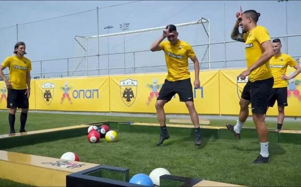 #ZiseToPodosfairo: Οι παίκτες της AEK διδάσκουν μπιλιάρδο με… μπάλες ποδοσφαίρου!