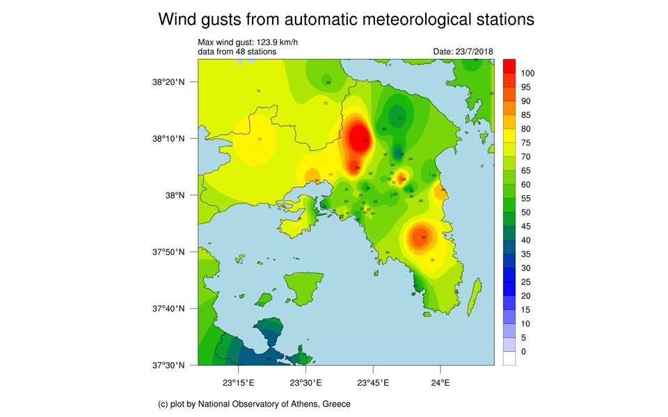 Αστεροσκοπείο: Οι ριπές του ανέμου τη Δευτέρα στην Αττική έφτασαν τα 120 χλμ