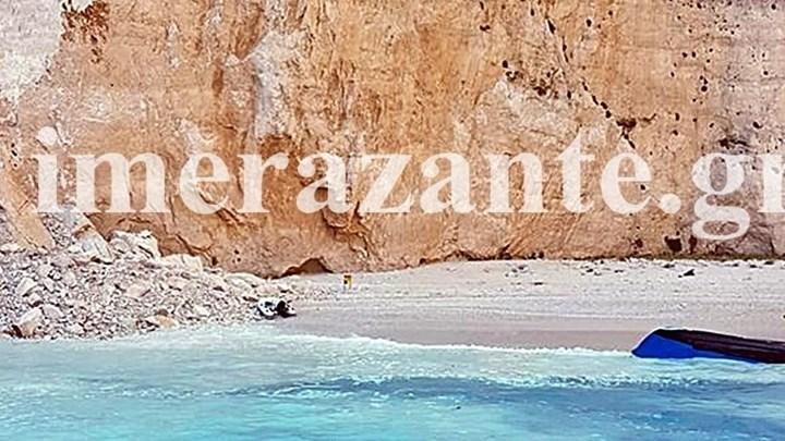 Κατολίσθηση βράχου στο Ναυάγιο της Ζακύνθου – Τρεις τραυματίες