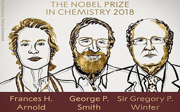 Στους Φράνσις Χ. Άρνολντ, Τζορτζ Π. Σμιθ και Γκρέγκορι Π. Ουίντερ το Νόμπελ Χημείας 2018