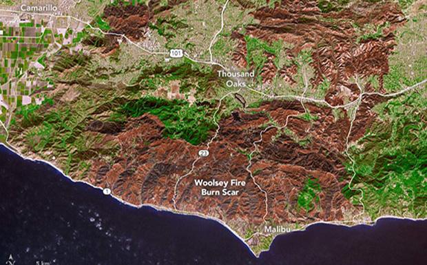 Η περιβαλλοντική καταστροφή από τις πυρκαγιές στην Καλιφόρνια ορατή από το διάστημα