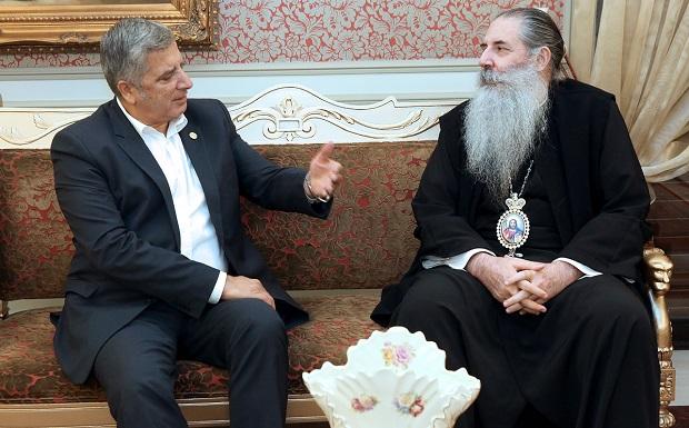 Συνάντηση υποψήφιου Περιφερειάρχη Αττικής Γ. Πατούλη με τον Μητροπολίτη Πειραιώς Σεραφείμ