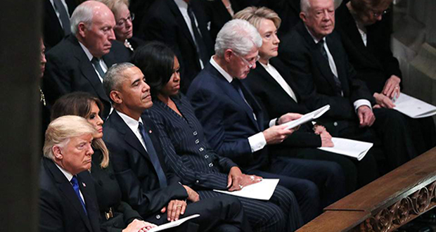 Ολοι οι εν ζωή πρόεδροι των ΗΠΑ στην κηδεία του Τζορτζ Μπους του πρεσβύτερου