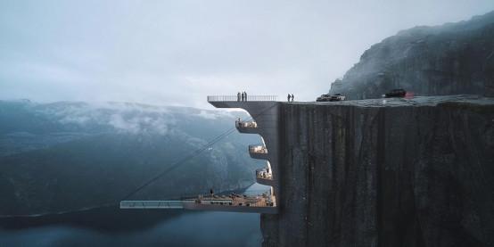 Αρχιτέκτονας ετοιμάζει πισίνα στο χείλος του γκρεμού στη Νορβηγία – Στα 600 μέτρα!