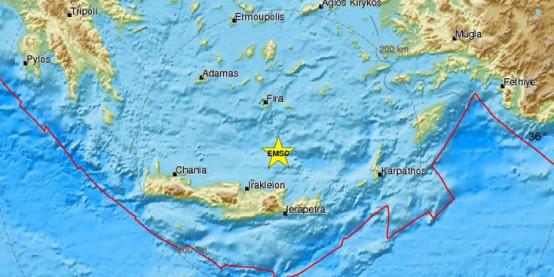 Δυνατός σεισμός 4,8 Ρίχτερ μεταξύ Κρήτης και Σαντορίνης
