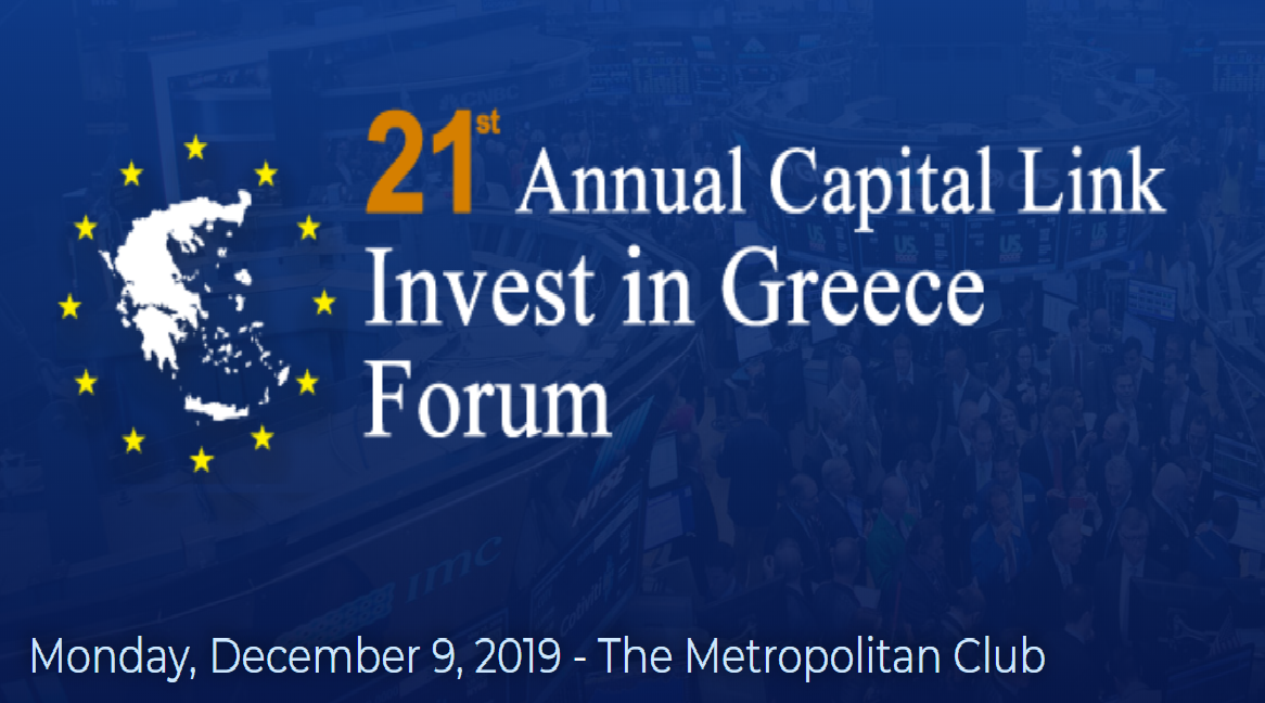 """21o ΕΤΗΣΙΟ CAPITAL LINK INVEST IN GREECE FORUM"" – ""GREECE IS BACK"":  Συνάντηση Κορυφής στη Νέα Υόρκη για την Ελληνική Οικονομία και τις Επενδύσεις"