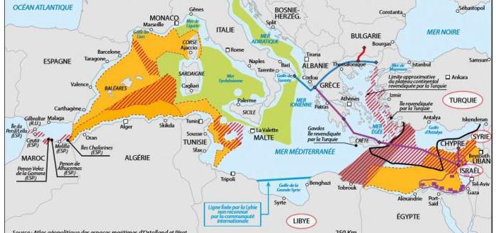 Χάρτης του γαλλικού Κέντρου Ναυτικών Στρατηγικών Μελετών αποτυπώνει τις τουρκικές διεκδικήσεις σε Αιγαίο και Μεσόγειο