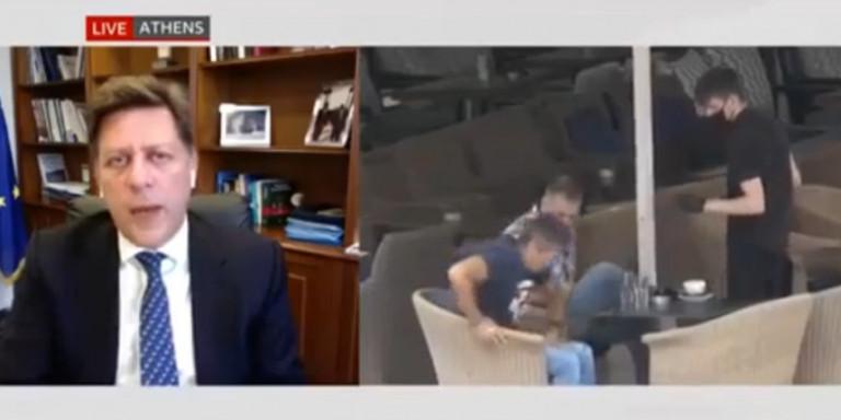 Viral video – Tο απρόοπτο με τον καφέ στη συνέντευξη Βαρβιτσιώτη στο BBC – Εκτοξεύτηκε την ώρα που μιλούσε
