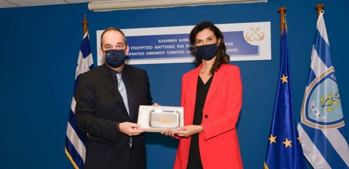 Η Πρέσβης της Ιταλικής Δημοκρατίας στην Ελλάδα κα Patrizia Falcinelli στο Υπουργείο Ναυτιλίας και Νησιωτικής Πολιτικής