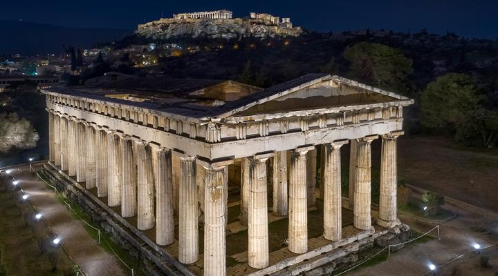 Ο νέος φωτισμός στον ναό του Ηφαίστου (φωτο-video)