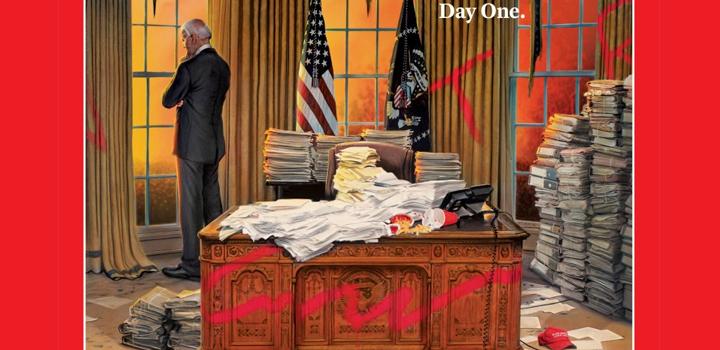 TIME: Ο Τζο Μπάιντεν στο κατεστραμμένο Οβάλ Γραφείο – Το εξώφυλλο της «επόμενης ημέρας»