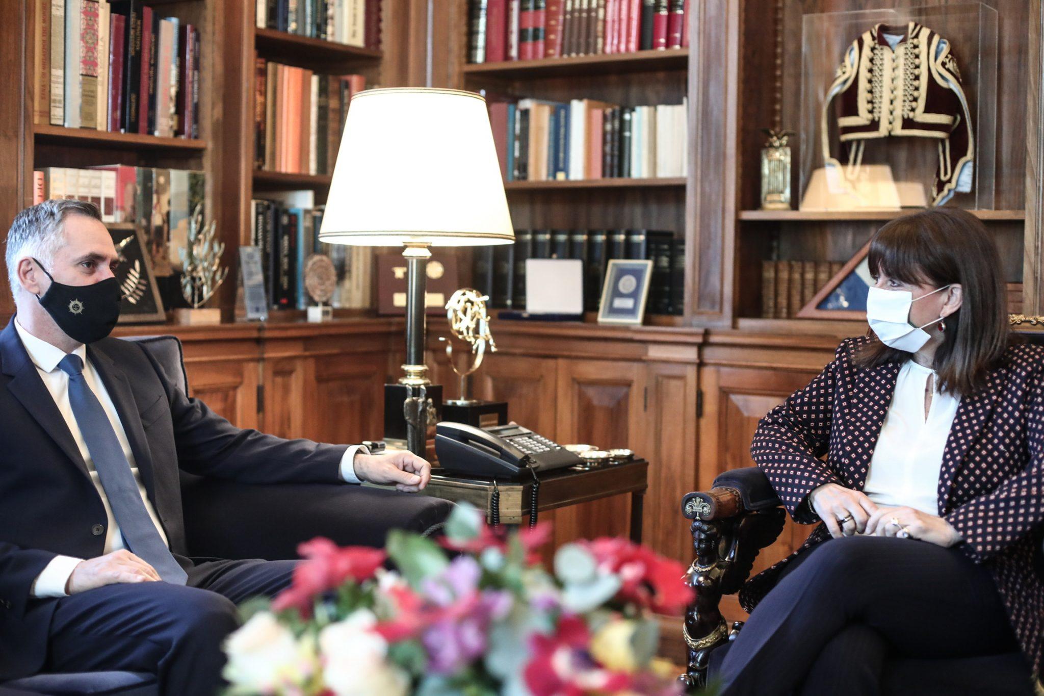 Σακελλαροπούλου: Συνάντηση με τον Πρόεδρο του ΔΗ.ΚΟ. Κύπρου Νικόλα Παπαδόπουλο