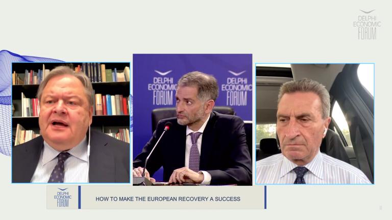 Συζήτηση Günther Oettinger και Ευάγγελου Βενιζέλου για την επιτυχή ανάκαμψη της Ευρώπης στο πλαίσιο του 6ου Οικονομικού Φόρουμ των Δελφών