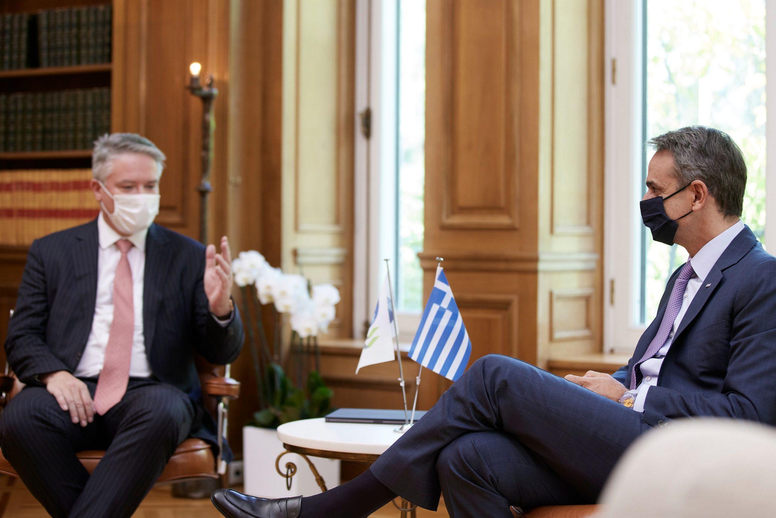 Κυρ. Μητσοτάκης: Η παγκόσμια ανάκαμψη οφείλει να συνδυασθεί με τον περιορισμό της ανισότητας – Tι ειπώθηκε στη συνάντηση με τον Mathias Cormann