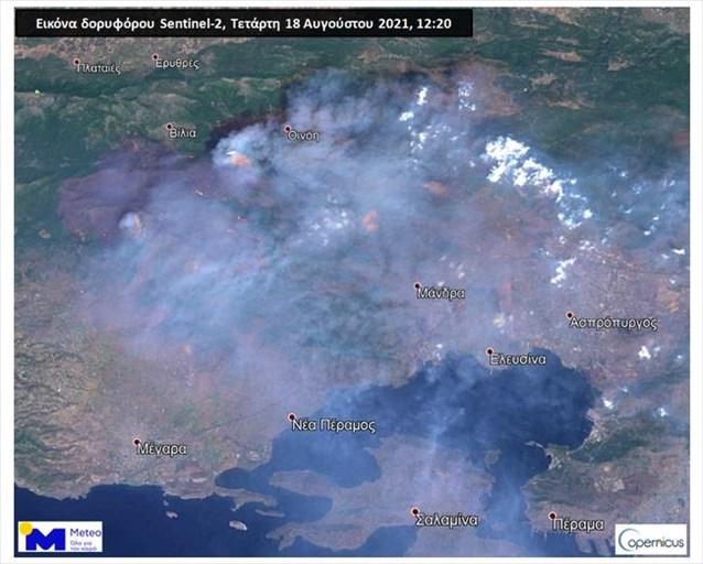 Δορυφορική εικόνα υψηλής ανάλυσης της πυρκαγιάς στα Βίλια