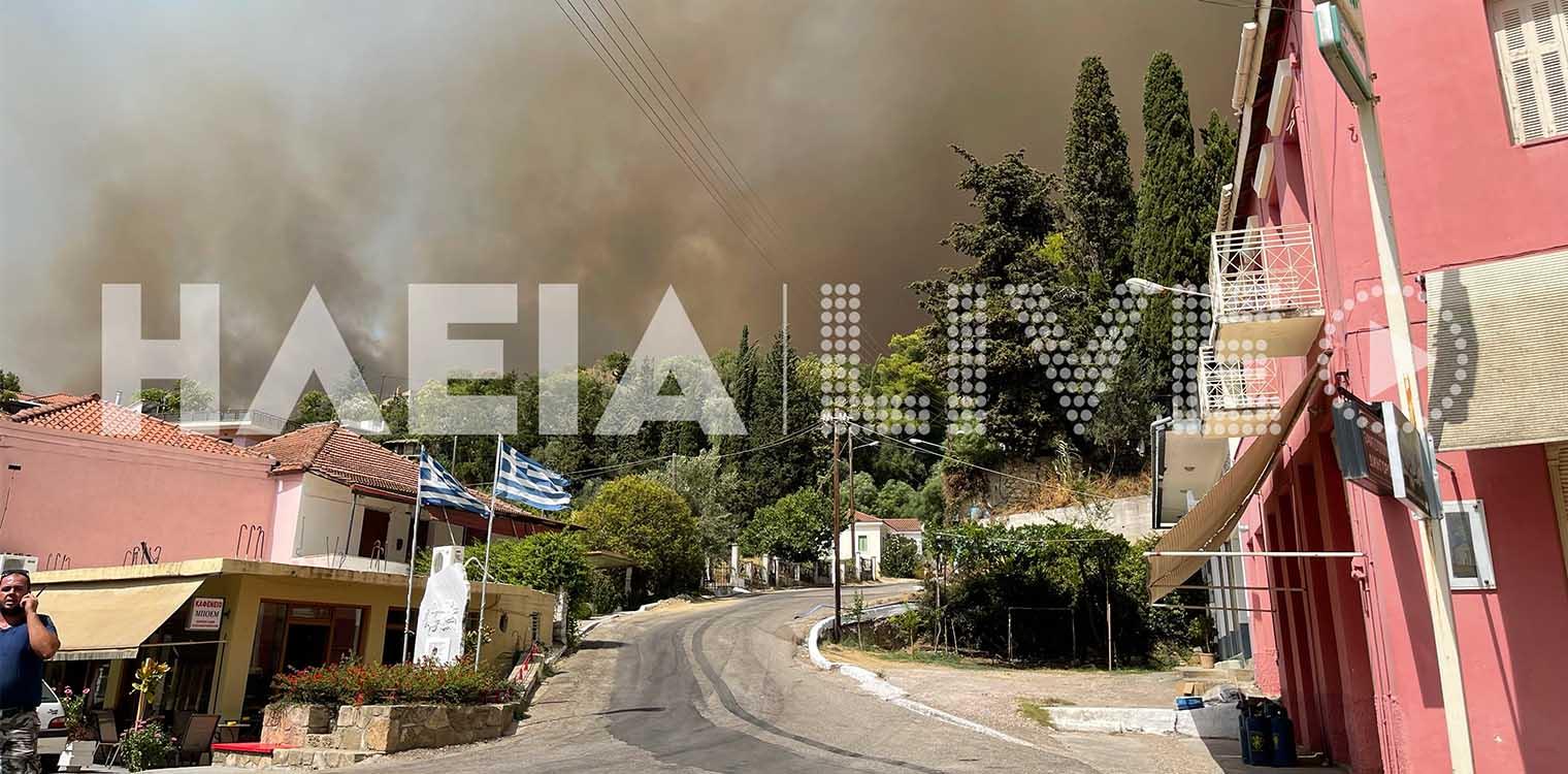 Φωτιά στην Ηλεία: Εκκενώνονται άλλες τρεις κοινότητες