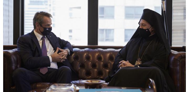 ΟΗΕ: Συνάντηση Κυριάκου Μητσοτάκη με τον Αρχιεπίσκοπο Ελπιδοφόρο