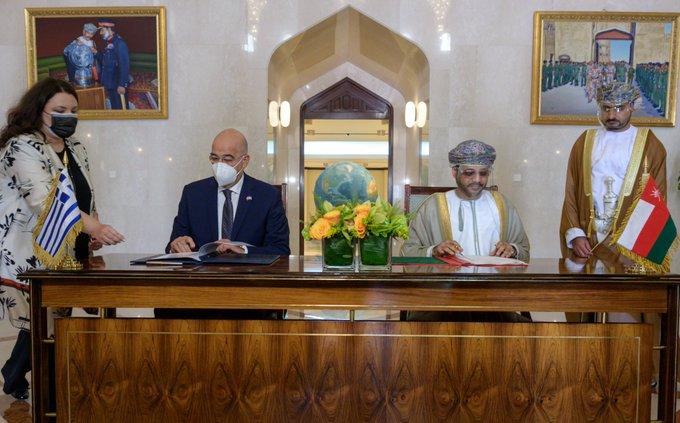 Υπογραφή δύο συμφωνιών Ελλάδας – Ομάν κατά την επίσκεψη του Ν. Δένδια